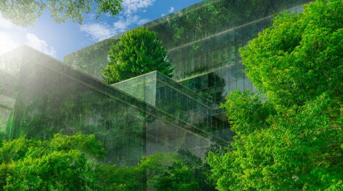 Neue Bürogebäude integrieren die Natur und sind nachhaltig entwickelt. © Shutterstock Fahroni